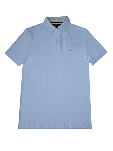 (Tommy Hilfiger Mens Custom Fit Solid Color Polo Shirt (Large, Very Light Blue))