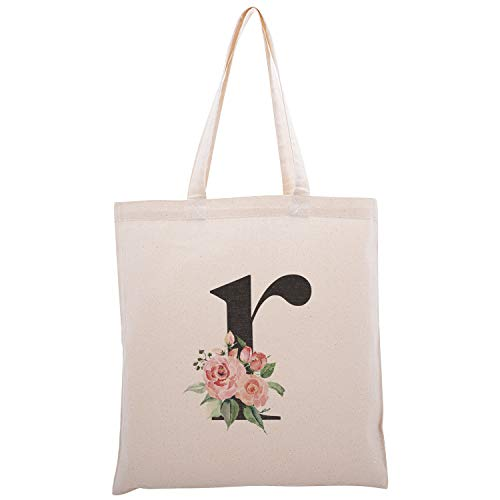 Personalized Floral Initial Cotton Canvas Tote Bag for Events Bachelorette Party Baby Shower Bridal Shower Bridesmaid Christmas Gift Bag | Daily Use | Totes for Yoga, Pilates, Gym, Workout | Initial R (Bridesmaid Gifts Christmas)