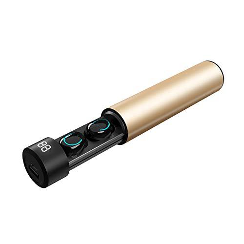 Alician Bluetooth headsets TWS Bluetooth Earphone Wireless Headphones 6D Stereo Wireless Earphones Mini Earbuds with Mic 2600mAh Charging Bin Power Bank Gold