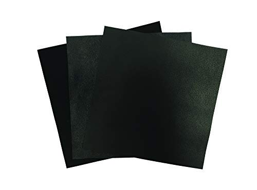 Lack Leather Fabric for Crafts: 3 Sheepskin Sheets of Black Suede and Black Lambskin Leather Hides 5x5IN/ 12x12cm