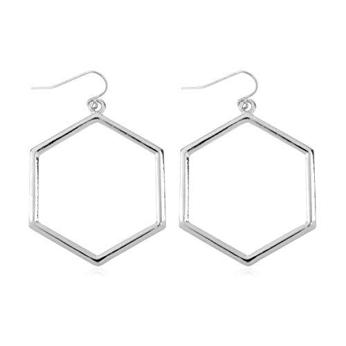 RIAH FASHION Lightweight Geometric Cut-Out Drop Earrings - Simple Metallic Open Hoop Wire Hook Dangles Pear, Teardrop, Oval Octagon (Hexagon Drop - Silver)