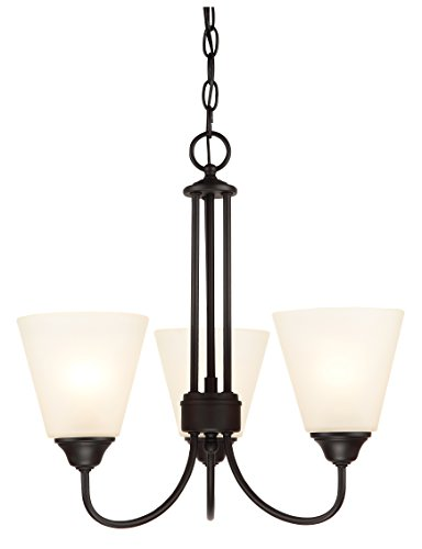 Hardware House LLC 20-9632 # 3-Light Chandelier Black Finish 3-Light Chandelier Fixture Comes with Frosted Glass 3 Foot Chain and 6′ Of Wire