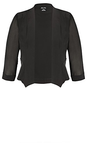 Designer Plus Size JKT CROPPED BLAZER - Black - 22 / XL | City Chic