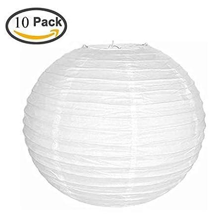 Paper Lantern Paper Lamp Shade for Decoration Hotels Home Diwali Kandil Light 10 Pcs - 10 Inch - White