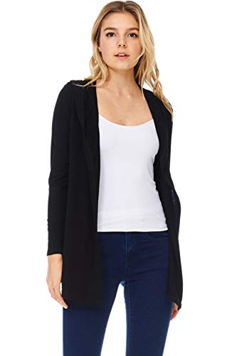 (A+D Womens French Terry Open Front Hoodie Cardigan Jacket Top (Black, Medium))