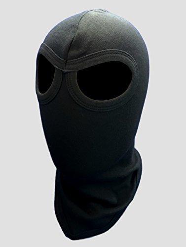 Adult American Made Solid Black 100% Cotton 2 Eye Holes Swat Balaclava Hood Full Face Ski Ninja Long Neck Mask For Army Soldier Motorcycle Biker