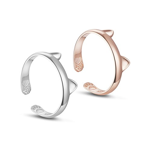 TINYSAND Women's 925 Sterling Silver with 18K Rose Gold Plated Kitty Cat Ears Paws Midi Knuckle Adjustable Stackable Open - Heights Sterling Mall