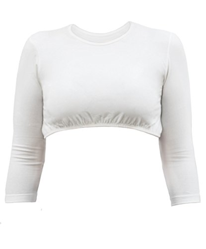 Kosher Casual Women's Modest High Neck Cropped Layering Shell - Cotton Lycra 3/4 Sleeve Base Pullover Top Medium Off White
