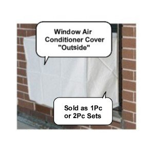PremierAcCovers - Window Air Conditioner Covers - Window/thru Wall - 2PC SET - Outdoor/Indoor - 19W, 14H, 14D AND 19W, 14H, 4D - White