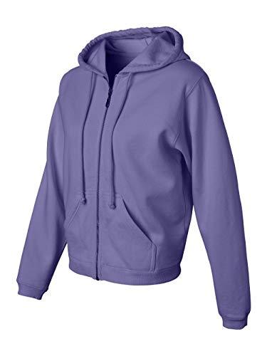(Ladies' Pigment Dyed Full-Zip Hooded Sweatshirt - Violet C1598)