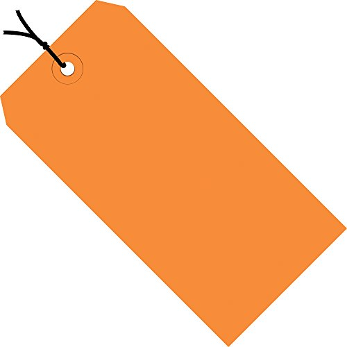Orange Shipping Tags, Strung, 13 Pt, 4 3/4