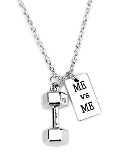Bell Charm Necklace - stylesilove Unisex Antique Silver Weight Lifting Fitness Sports Charms Pendant Necklace (Dumbbell & DISCIPLINEDumbbell & DISCIPLINE) (Dumbbell & ME vs ME)