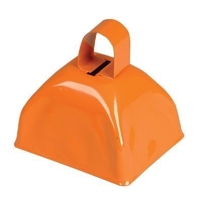 3-inch Orange Metal Cow Bell (Bulk Pack of 12 Bells)]()