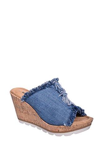Minnetonka Women's, York High Heel Wedge Sandals Denim 9 M