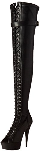 Pleaser DELIGHT-3025 Black Stretch Faux Leather/Black Matte FuquyrUg3