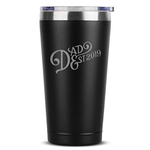Sodilly Dad Est. 2019 Vintage 16 oz Black Stainless Steel Tumbler w/ Lid (Best Coffee Tumbler 2019)