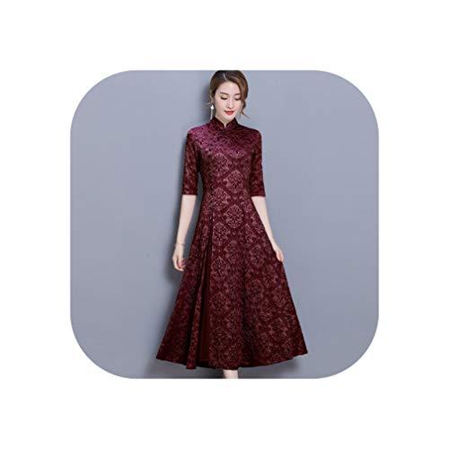 Summer Women Elegant Retro Traditional Dress Silk Cotton Cheongsam Female Lady Wedding,7,S