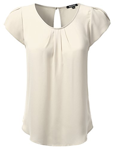 NINEXIS Womens Cap Sleeve Petal Back Keyhole Button Closure Blouse Top Ivory ()