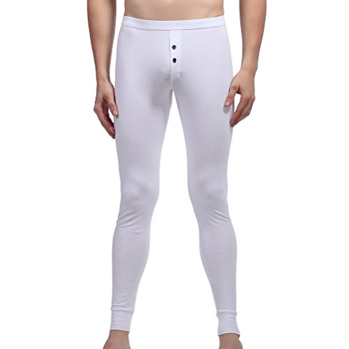 ZIHAN Men's Cotton Skinny Button Thermal Legging Pants Extra Small White