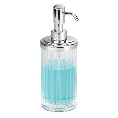 InterDesign Alston Soap Dispenser Pump for Body Moisturizer, Liquid Hand Soap, Sanitizer or Aromatherapy Lotion - Clear/Chrome