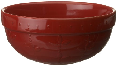 Signature Housewares Sorrento Collection 90-Ounce Medium Mixing Bowl, Ruby Antiqued (Antiqued Green Italian Ceramic)