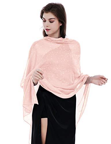 Shawls and Wraps for Evening Dresses,Wedding Shawl Wrap,Shiny Scarf Pink
