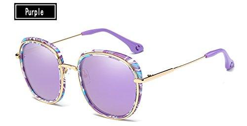 Gafas Sol Mujeres la piernas Gafas Ojo Mujer Metal de Gafas de Sol purple de TL de Sunglasses Gris Aleación Negro Gato de Famosa Estructura TqHqO80