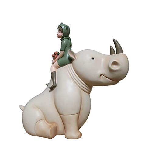 Seasonal Décor Collectible Figurines Fairy Rhinoceros Ornaments Children's Book Room Furnishings Creative Desktop Decorations Small Ornaments Gifts (Color : Beige, Size : 331731cm)