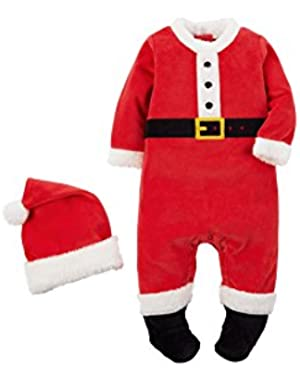 Carter's Baby My First Christmas Plush Velour Santa Suit and Hat Unisex