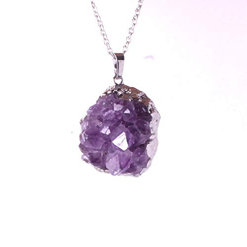 - VATT Irregular R om Natural Amethysts Quartz Cut Necklace Crystal Piont Stone Pendant Natural Drusy Stone Healing 1Pcs Silver r om Shape