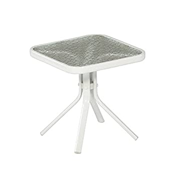White Patio Side Table Steel Frame Small Square Tempered Glass Top End Table  For Outdoor Deck