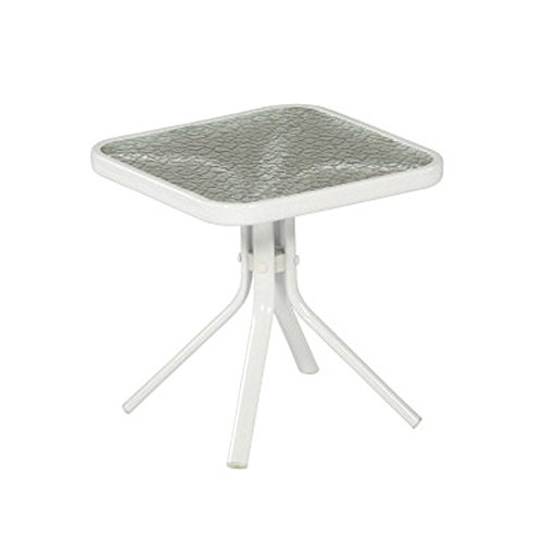 White Patio Side Table Steel Frame Small Square Tempered Gla