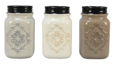 Assorted Grey Cream Beige Ceramic Mason Jar Vases - Set of 3