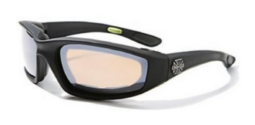 Choppers Mens Biker Padded Motorcycle Goggles Glasses - Several Lens Colors Available! (Black - Amber (Island Chopper)
