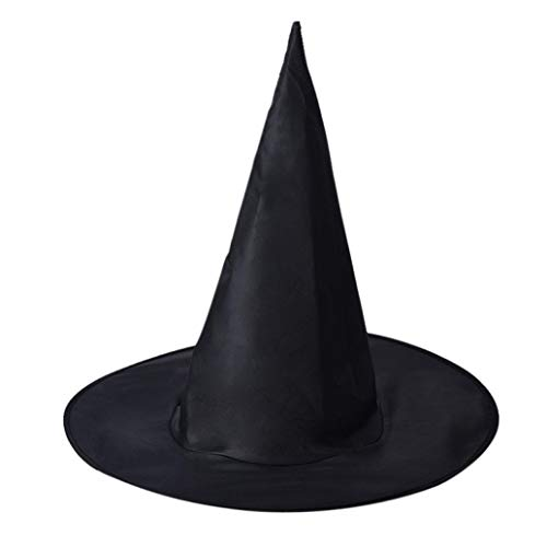 SCSAlgin 1Pcs Adult Womens Black Witch Hat for Halloween Costume Accessory (Black, One Size)