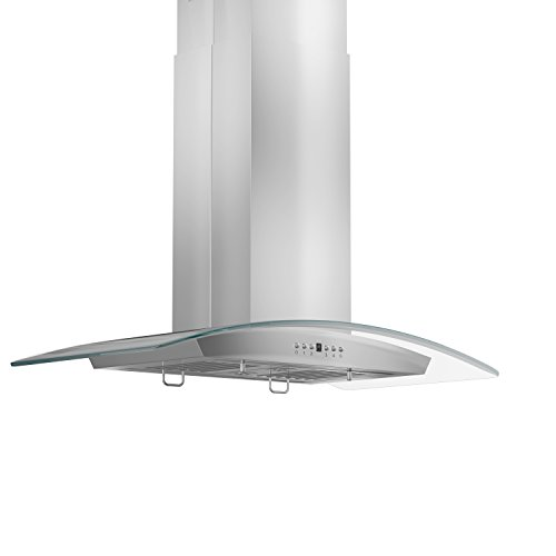 Z Line GL5i-30 Stainless Steel and Glass Island Mount Range Hood, 30-Inch - Curved Glass Island Hood