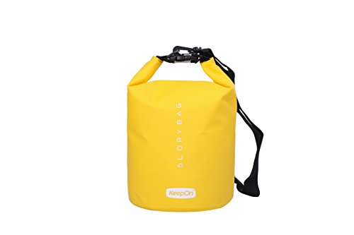 KEEPON Waterproof Dry Bags for Water Sports Kayaking, Canoeing, Fishing - Dry Gear Bag and Sack by Durable, Lightweight Floating Backpack - Great For Outdoors, Camping and Hiking (Yellow, 5L)