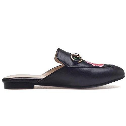 Jyshoes Pantofole Chiuse Estate Signore Muli Piatti In Pelle Scarpe Comode Pantofole Nero # Fiori