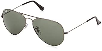 original aviator ray ban  Amazon.com: Ray-Ban RB 3025 Sunglass, Gunmetal/Green Classic, 58 ...
