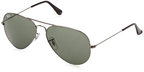 Men's Aviator Large Metal Aviator Sunglasses, GUNMETAL, 58 - Aviator Ray Ban Ladies For