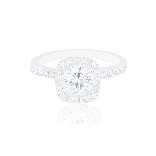 ORROUS & CO 18k White Gold Plated Cushion Halo Cubic Zirconia Engagement Ring (1.90 carats)