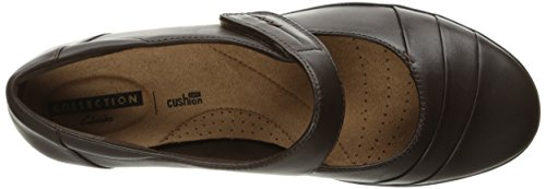 Clarks Womens Everlay Kennon Mary Jane Flat, Brown Leather, 6 W US