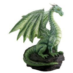 (SUMMIT COLLECTION Green Dragon on Rock Fantasy Figurine)