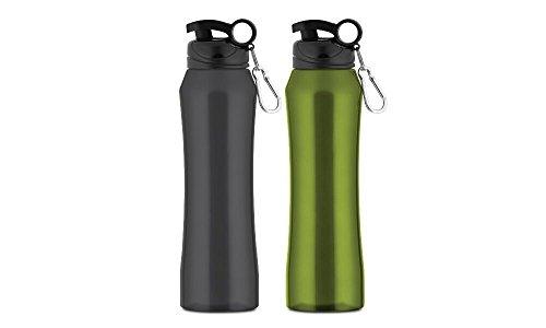 Hamilton Beach Stainless Steel Water Bottle Set (2 Pack), 20 oz, Gunmetal/Navy Green