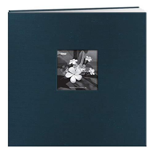 Pioneer 12-Inch by 12-Inch Silk Postbound Album with Photo Window, Blue