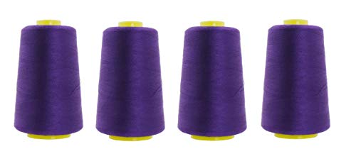 Mandala Crafts All Purpose Sewing Thread from Polyester for Serger, Overlock, Quilting, Sewing Machine (4 Cones 6000 Yards Each, Purple)