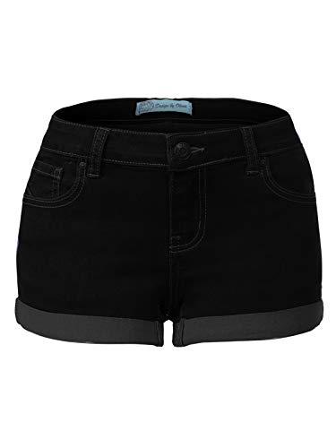 Design by Olivia Women's Casual Stretchy Cuffed Hem Push Up Denim Jean Shorts with Pockets Black XL