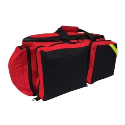 LINE2design EMS Oxygen Bag - Deluxe Medical Portable O2 Supply Ambulance Gear Bags - All Impervious Fully Padded Bag with Yellow Reflective Trim & Shoulder Strap - Red