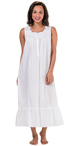 Cotton Lawn Long Gown (Eileen West Cotton Lawn Sleeveless Long Gown In Country White (White, Medium))