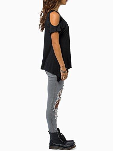 T Casual Manches Femmes Hors T Solide v Extensible Courtes paule cou Noir Tops Shirt Shirt z11d0qwf